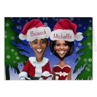 Barack and Michelle Obama Caricature Holiday Card