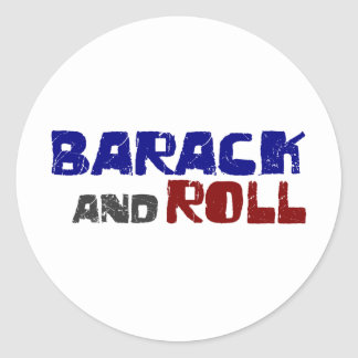 Barack And Roll Round Sticker