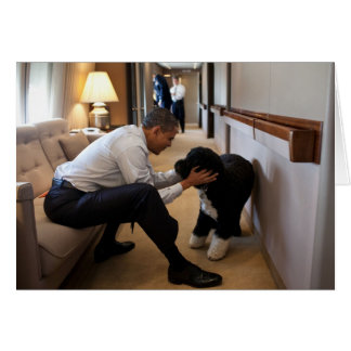 Barack & Bo Obama Card