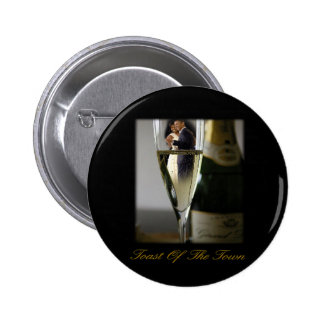 BARACK & MICHELLE OBAMA:  TOAST OF THE TOWN 2 INCH ROUND BUTTON