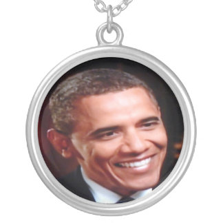 Barack Obama 3D Inaugural, 2nd Term Commemorative Silver Plated Necklace