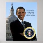 Barack Obama 44 Pres Portrait & Official Pres Seal Poster