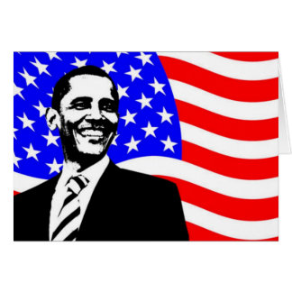 Barack Obama American Flag Card