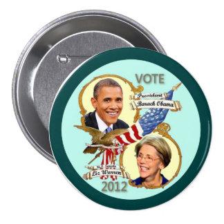 Barack Obama & Elizabeth Warren 2012 3 Inch Round Button