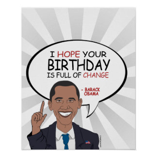 Barack Obama Greeting - Happy Birthday Poster