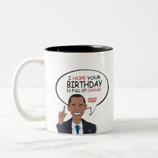 Barack Obama Greeting - Happy Birthday Two-Tone Coffee Mug