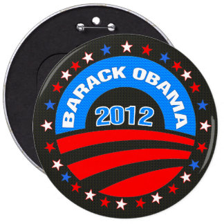 Barack Obama Logo 2012 Black Background 6 Inch Round Button