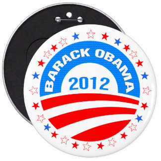 Barack Obama  Logo 2012-Diamond Pattern Texture 6 Inch Round Button