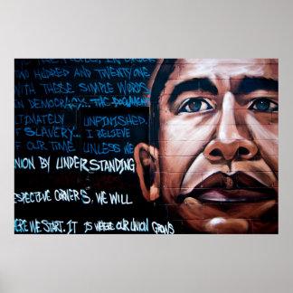 Barack Obama Mural & Speech, Brooklyn, New York Poster