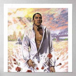 Barack Obama on Water Patriotic Print