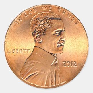 Barack Obama Penny 2012 Classic Round Sticker