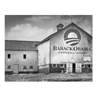 Barack Obama Presidential Campaign Barn Postcard