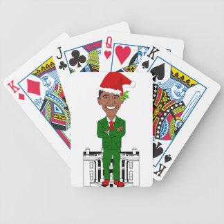 barack obama santa claus bicycle playing cards
