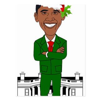 barack obama santa claus postcard