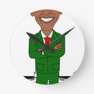 barack obama santa claus round clock