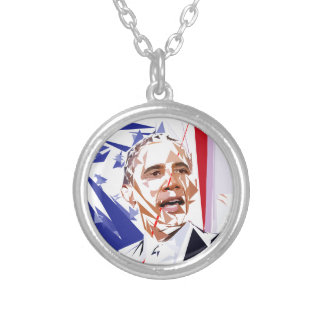 Barack Obama Silver Plated Necklace