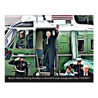 Barack Obama Waving Goodbye On Inauguration Day Postcard