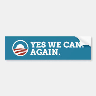 Barack Obama Yes We Can Again Bumper Sticker Blue