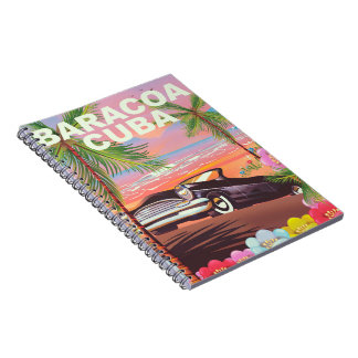 Baracoa Cuba auto travel poster Notebook