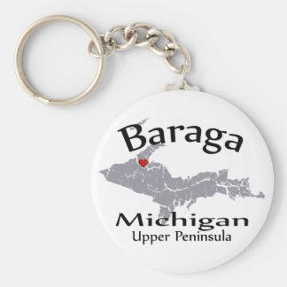 Baraga Michigan Heart Map Design Keychain