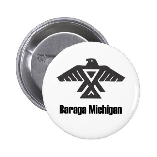 Baraga Michigan Ojibwe Native American Button