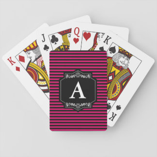 Baralhos Classic Custom Pink Stripes Monogram Playing Cards
