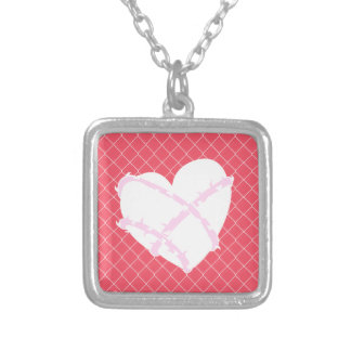 Barb Wire Heart on Chain Link Fence Silver Plated Necklace
