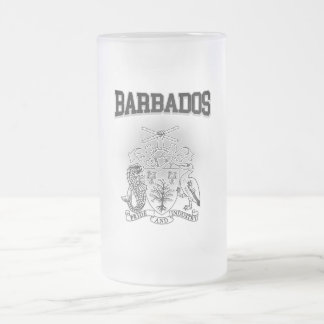 Barbados Coat of Arms Frosted Glass Beer Mug