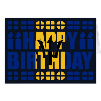 Barbados Flag Birthday Card