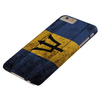 Barbados Flag on Old Wood Grain Barely There iPhone 6 Plus Case