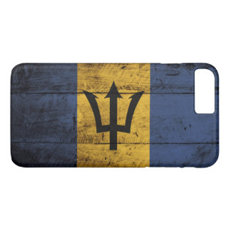 Barbados Flag on Old Wood Grain iPhone 7 Plus Case