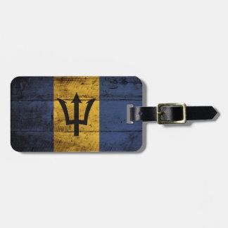 Barbados Flag on Old Wood Grain Luggage Tag