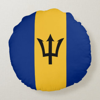 Barbados Flag Round Pillow