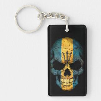 Barbados Flag Skull on Black Acrylic Keychains