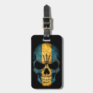 Barbados Flag Skull on Black Bag Tag