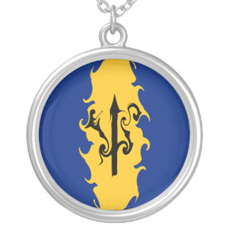 Barbados Gnarly Flag Round Pendant Necklace