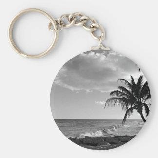 Barbados Palm Tree Beach Basic Round Button Keychain