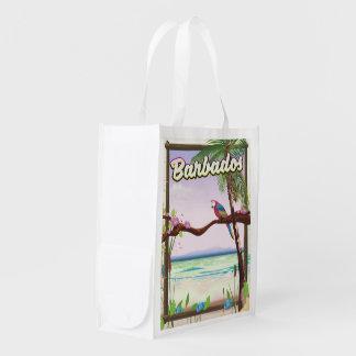 Barbados Parrot Landscape travel poster Reusable Grocery Bag