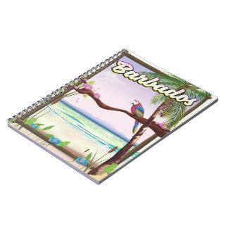 Barbados Parrot Landscape travel poster Spiral Notebook