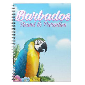 Barbados Parrot travel poster Spiral Notebook