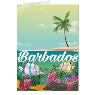 Barbados underwater travel poster card