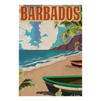 Barbados vintage travel poster