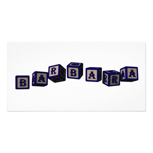 Barbara toy blocks in blue. Great gift for loved o Photo Cards