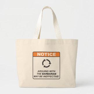 Barbarian / Argue Large Tote Bag