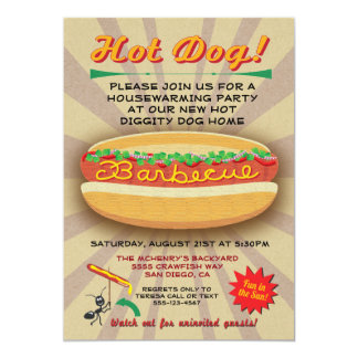 Barbecue Housewarming Hot dog party invitation
