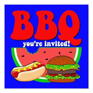 """Barbecue 5.25"""" Square Invitation Card"""