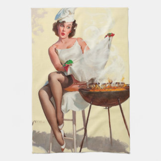 Barbecue Pin-Up Girl Kitchen Towel