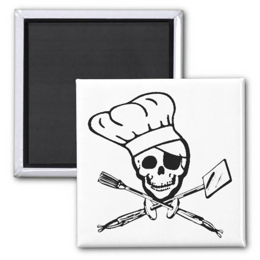 Barbecue Pirate Jolly Roger Magnet