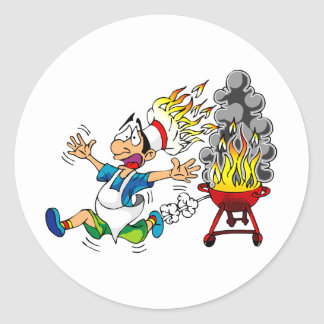 Barbecue pit master grill bbq smoker classic round sticker