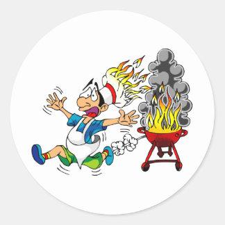 Barbecue pit master grill bbq smoker round sticker